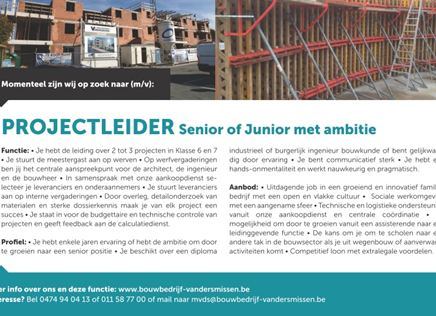 Projectleider Junior - Senior